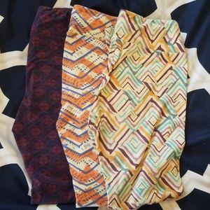 3 pairs LuLaRoe OS leggings
